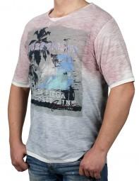 T-Shirt KITARO Coral/ Blau mit Aufdruck-- EXTRALANG