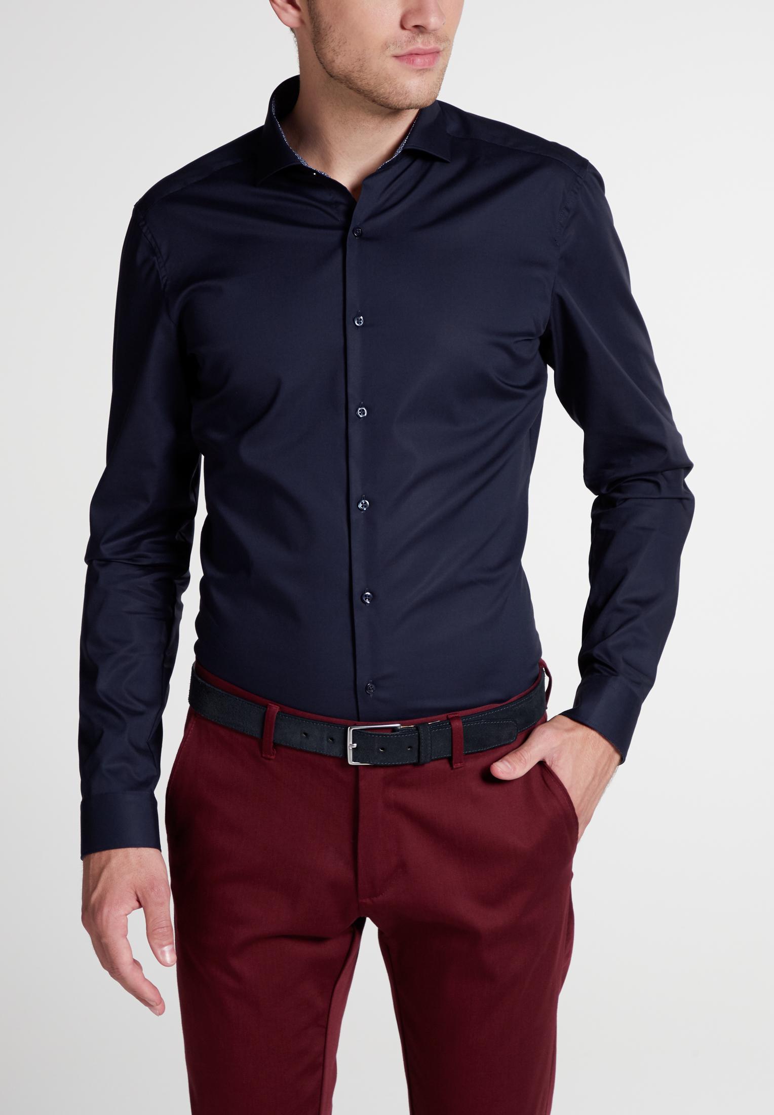 extra langer arm 72 cm hemd eterna slim fit marine mit. Black Bedroom Furniture Sets. Home Design Ideas