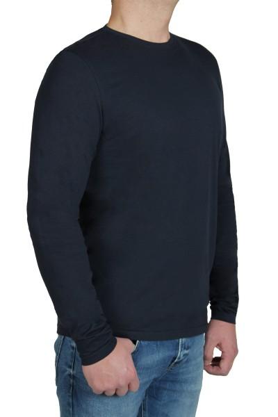 T-Shirt Langarm KITARO, Rundhals in dunkelblau-- Extra Lang