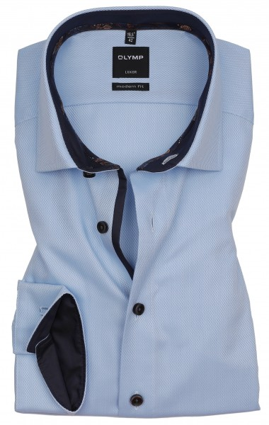 Hemden Extra Langer Arm 69 cm, OLYMP Luxor modern fit, Struktur Hellblau