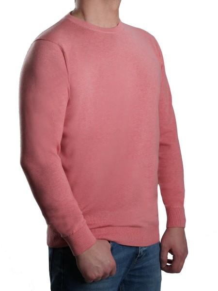 Extra langer Pullover Herren, K I T A R O-Rundhals, in Rosa mel.