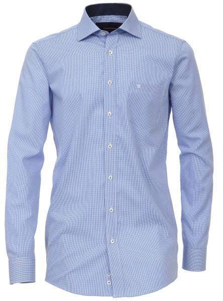 Hemden Extra langer Arm 72 cm, C asa Moda Comfort Fit, Kariert Hellblau/Weiß