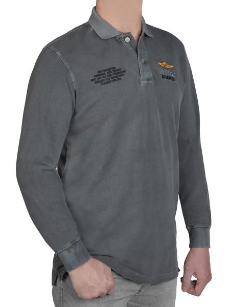 KITARO Langarm- Poloshirt in extra lang, Grau