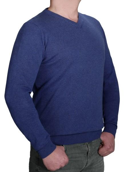 Extra langer Pullover Herren, K I T A R O-V-Ausschnitt, in Blau