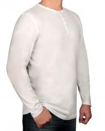 T-Shirt Langarm KITARO Rundhals mit Knopfleiste Weiß-- EXTRALANG