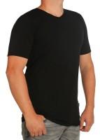 K I T A R O- T-Shirt (stretch ) Kurzarm - V-Ausschnit, schwarz-- extra lang