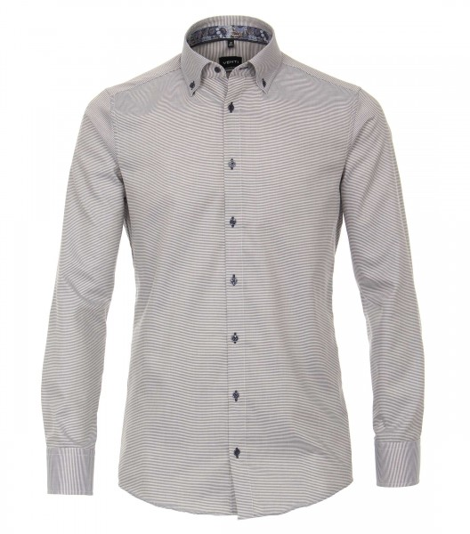 Hemden Extra Langer Arm 72 cm, Venti Modern Fit, Gemustert Grau