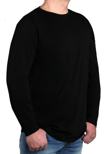 T-Shirt Langarm KITARO, Rundhals in schwarz-- Extra Lang