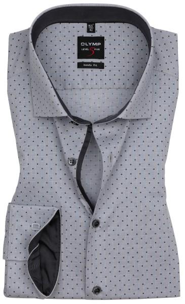 Hemden Extra langer Arm 69 cm, OLYMP Level 5 Body Fit, Gemustert Grau