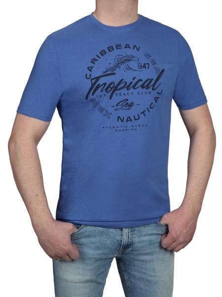 T-Shirt KITARO -Rundhals in Blau mit Aufdruck, in Extra lang