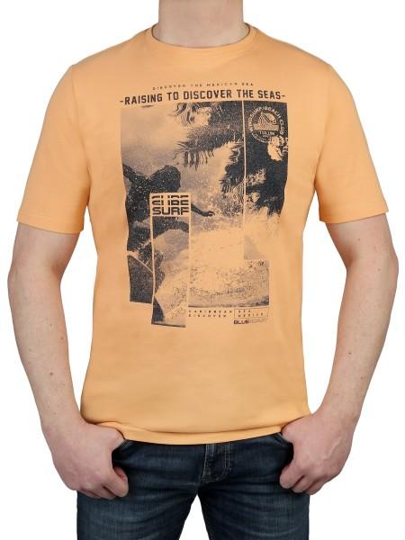 T-Shirt KITARO -Rundhals in Lachs mit Aufdruck, in extra lang