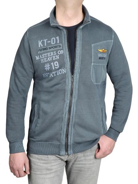 Extra Lang, Sweat-Jacke in Blau von Kitaro