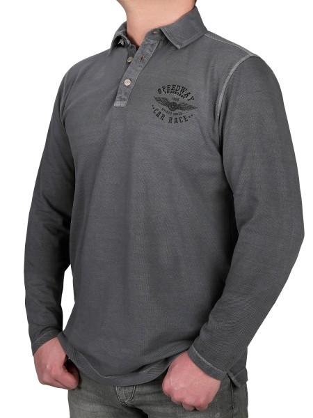 Extra langes Poloshirt, K I T A R O Langarm in Grau