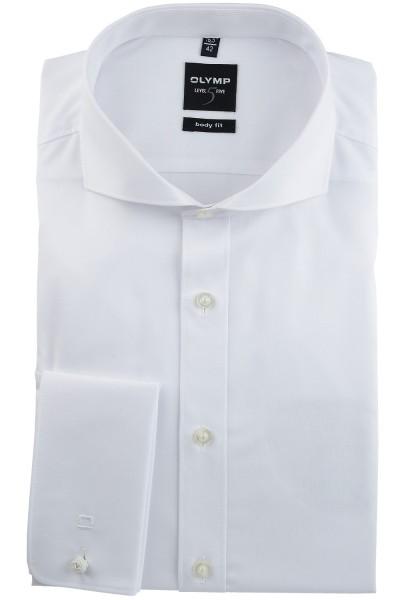 OLYMP Extra langer Arm 70 cm, Hemden Level Five body fit, Umschlagmanschetten, Weiß