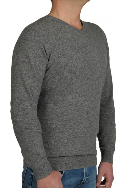 Kitaro Herren Strick-Pullover, Extra Langer Arm, Grau