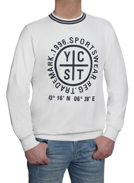 Sweatshirt KITARO weiss mit Aufdruck - EXTRALANG-