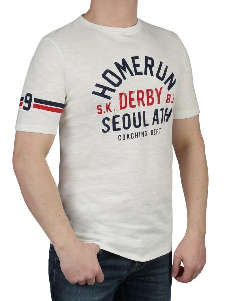 T-Shirt KITARO -Rundhals in Weiß mit Aufdruck, in extra lang