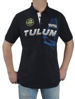 Herren Poloshirt KITARO Marine mit Aufdruck-Extra Lang