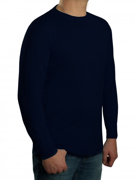 Extra langer Pullover Herren, K I T A R O-Rundhals, in Marine