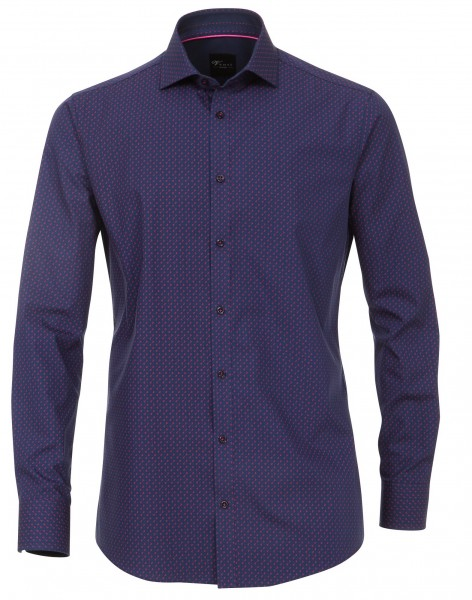 Hemden Extra Langer Arm 72 cm, Venti Slim Fit, Gemustert Blau