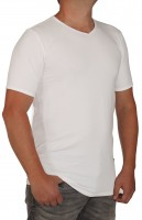 K I T A R O- T-Shirt (stretch ) Kurzarm -V-Ausschnit, Weiss-- extra lang