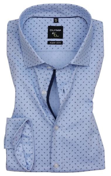 Hemden Extra Langer Arm 69 cm, OLYMP No. Six super slim, Gemustert Hellblau
