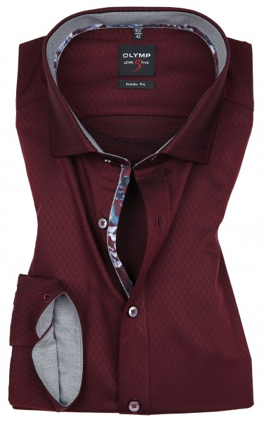 OLYMP Extra langer Arm 69 cm, Hemden Level 5 Body Fit, Struktur Bordeaux