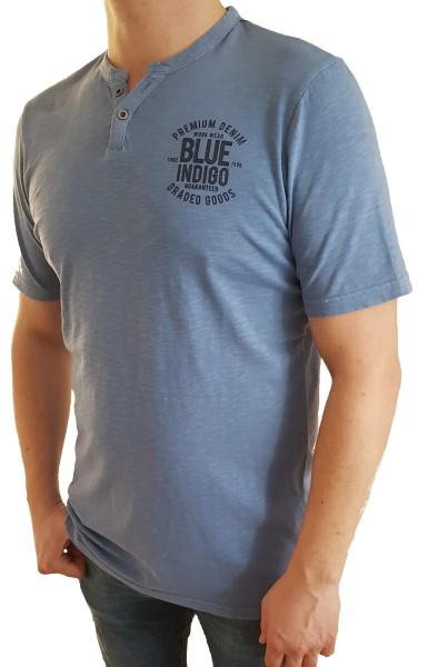 T-Shirt KITARO -Blau mit V-Knopfleiste, in extra lang