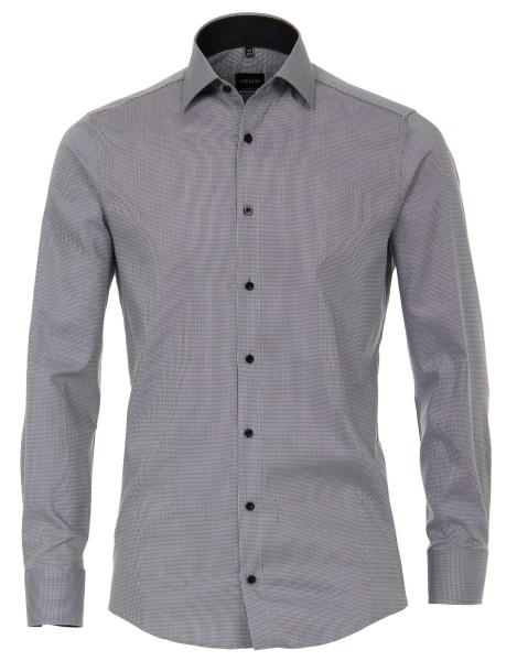 Hemden Extra langer Arm 72 cm, Venti Modern Fit, Gemustert Schwarz
