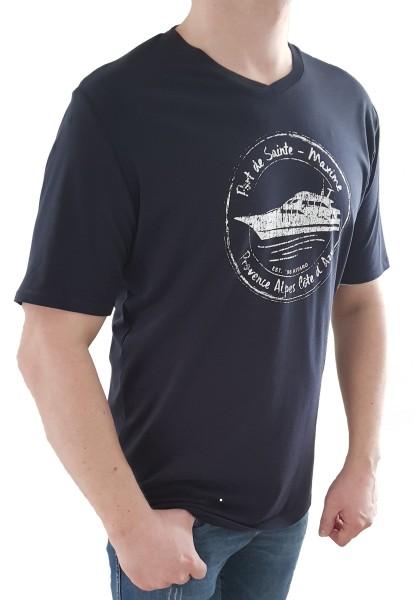 T-Shirt KITARO -Marine mit V-Ausschnitt, in extra lang