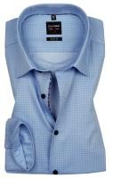 OLYMP Extra langer Arm 69 cm, Hemden Level 5 Body Fit, Gemustert Blau