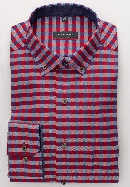 E T E R N A Hemden Extra langer Arm 72 cm, Modern Fit, Kariert Bordeaux