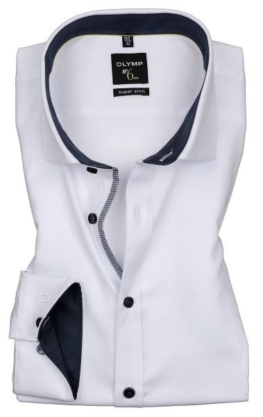 Hemden Extra Langer Arm 69 cm, OLYMP No. Six super slim, Struktur Weiß