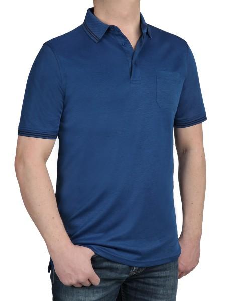 Herren Poloshirt KITARO Blau- Extra Lang