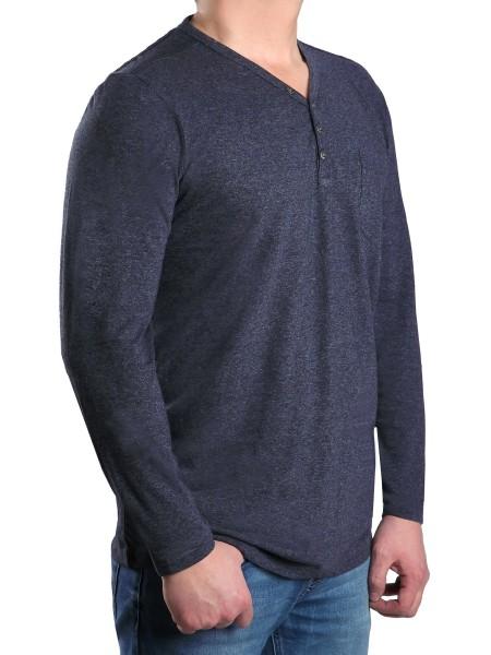 T-Shirt Langarm KITARO, V-Ausschnitt mit Knopfleiste in Blau mel. --EXTRALANG