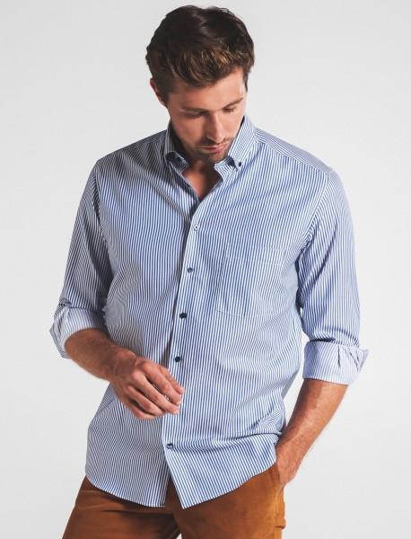 Hemden Extra langer Arm 72 cm, E T E R N A modern fit, Streifen Blau/Weiß