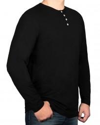 T-Shirt Langarm KITARO Rundhals mit Knopfleiste Schwarz-- EXTRALANG