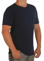 K I T A R O- T-Shirt (stretch ) Kurzarm - V-Ausschnit, Marine-- extra lang