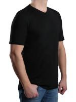 T-Shirt KITARO V-Ausschnitt Schwarz-- EXTRALANG