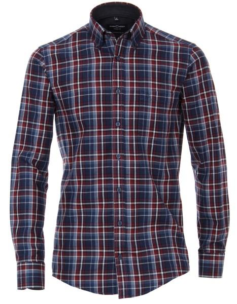 FLANELL-Freizeithemd, Extra langer Arm 72 cm, Casa Moda Casual Fit, Kariert Blau