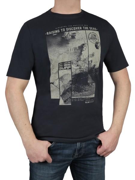 T-Shirt KITARO -Rundhals in marine mit Aufdruck, in extra lang