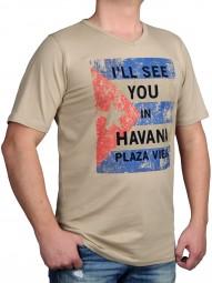 T-Shirt KITARO Sand mit Aufdruck-- EXTRALANG