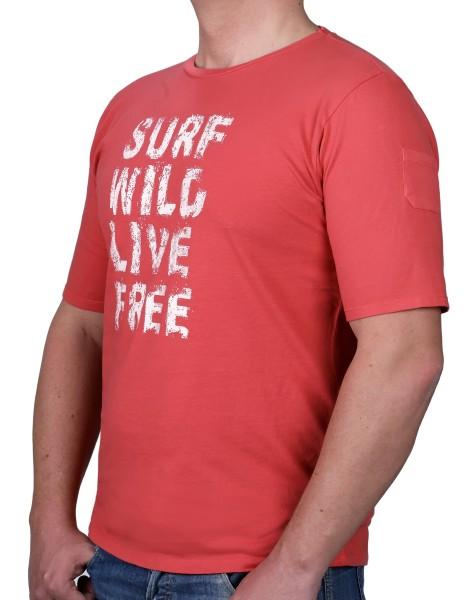 T-Shirt KITARO Coral mit Aufdruck-- extra lang