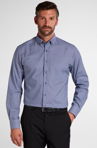 Hemden Extra langer Arm 68 cm, E T E R N A modern fit, Kariert Blau/Weiss