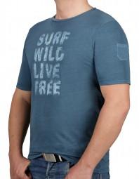 T-Shirt KITARO Blau mit Aufdruck-- EXTRALANG