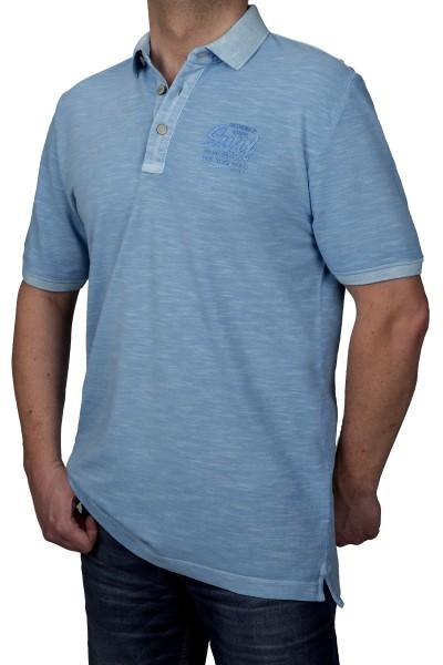 KITARO Poloshirt in extra lang in Türkis