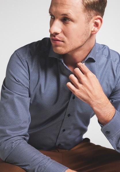 Hemden Extra langer Arm 72 cm, E T E R N A Slim Fit, Gemustert Blau
