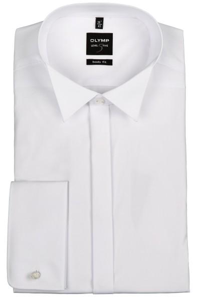 OLYMP Extra Langer Arm 70 cm, Hemden Level Five body fit, KläppchenKragen, Weiß