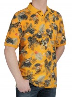 Herren Poloshirt KITARO Orange Gemustert - Extra Lang