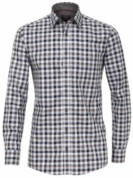 Freizeithemd Casa Moda Comfort fit Kariert Grau/Blau Extra langer Arm 72cm